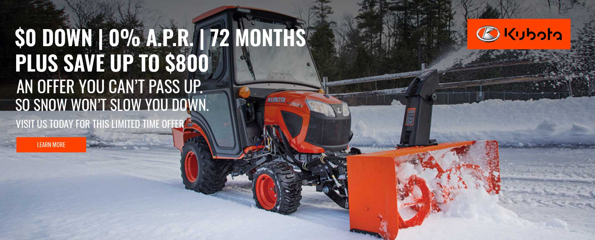 Kubota Snow Finance Specials 2021